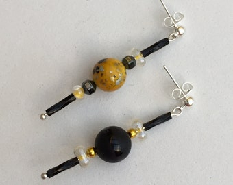 Hand Crafted Black and Yellow Beaded Earrings