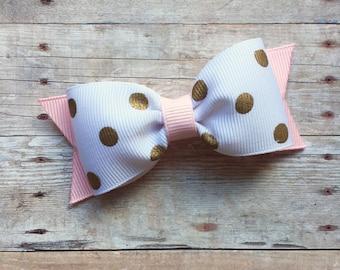 Pink & Gold Polkadot Bow Hair Clip
