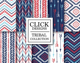 """Tribal Nautical Digital Paper: """"TRIBAL NAUTICAL"""" scrapbook papers with arrows, aztec patterns in red & navy blue, for invites, carts, crafts"""
