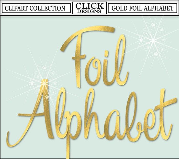 Alphabet Foil Silvers: GOLD FOIL ALPHABET Digital ClipArt: Letters Numbers Symbols