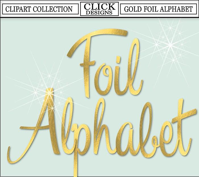 GOLD FOIL ALPHABET Digital ClipArt: Letters Numbers Symbols