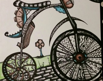 Steampunk Biking Drawing Pencil and Ink