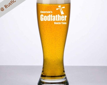 Godfather Beer Glass, Godfather Glass, Godfather Gift, Personalized gift for Godfather, Godfather Pilsner, Personalized Beer, Godparent Gift