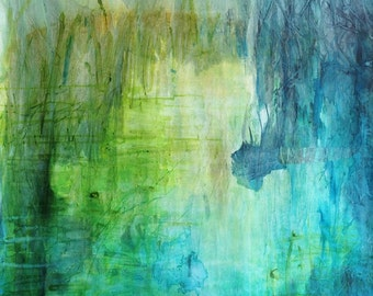 Peaceful pond, original painting on cotton canvas, ink and collagen abstract waterscape