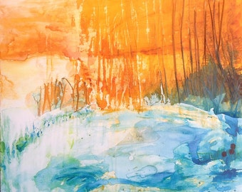 Last lights of summer, original painting, abstract landscape on stretched canvas