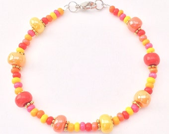 Red Yellow Orange Pink Beaded Bracelet, Multi Color Seedbead Minimalist Braclet