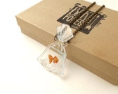 2D Goldfish in a Bag on Clear Acrylic Necklace