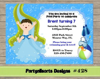 DIY - Pool Party Boys Slide Party Invitations