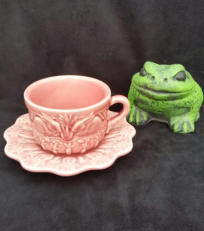 Vintage bordallo pinheiro majolica pink rabbit tea cup and - Bordallo pinheiro portugal ...
