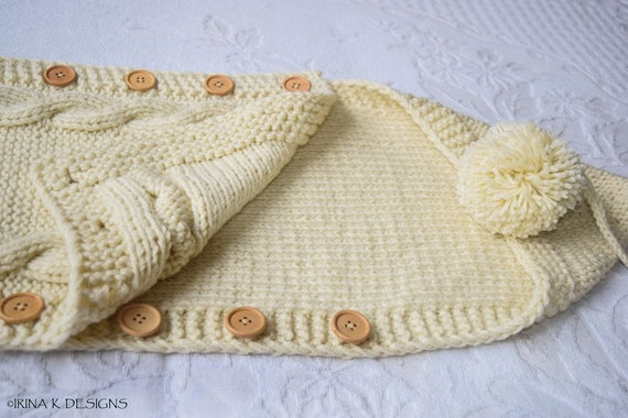Knitting Pattern For Baby Grow Bag : FINAL SALE Baby SHOWER Gift Hand Knit Baby by IrinaKDesigns