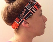 workout yoga headband - Detroit Tigers baseball themed fabric reversible solid orange - secure fit elastic back