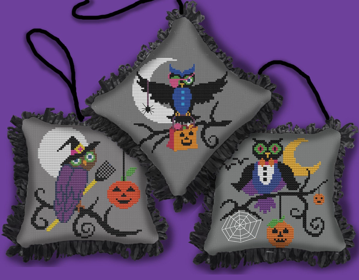 THREE HALLOWEEN OWLS - Mini ornaments or coasters - Modern Counted ...