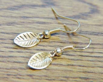 Gold Leaf Earrings, Tiny Gold Leaf Earrings, Woodland Jewelry, Dangle Earrings, Gold Earrings