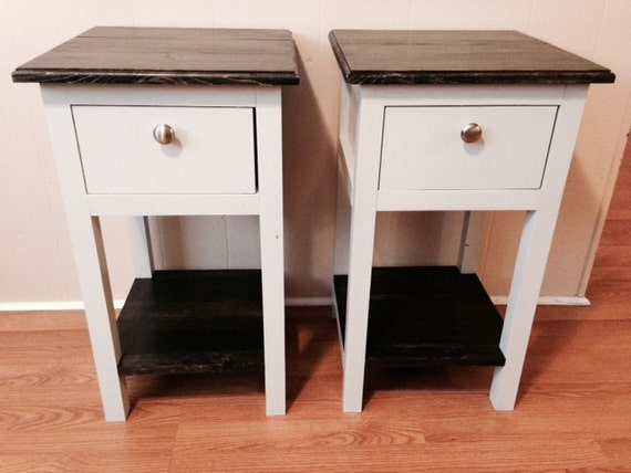 handmade mini farmhouse bedside table nightstand. Black Bedroom Furniture Sets. Home Design Ideas
