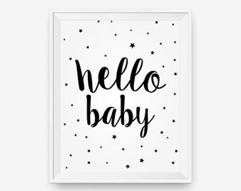 SALE Hello Baby, Nursery Wall Art Printable, Printable New Born Baby Gift - Digital Download - Printable Art