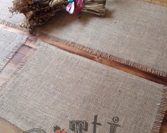 Pack of 2, Rustic Hessian Table Mats