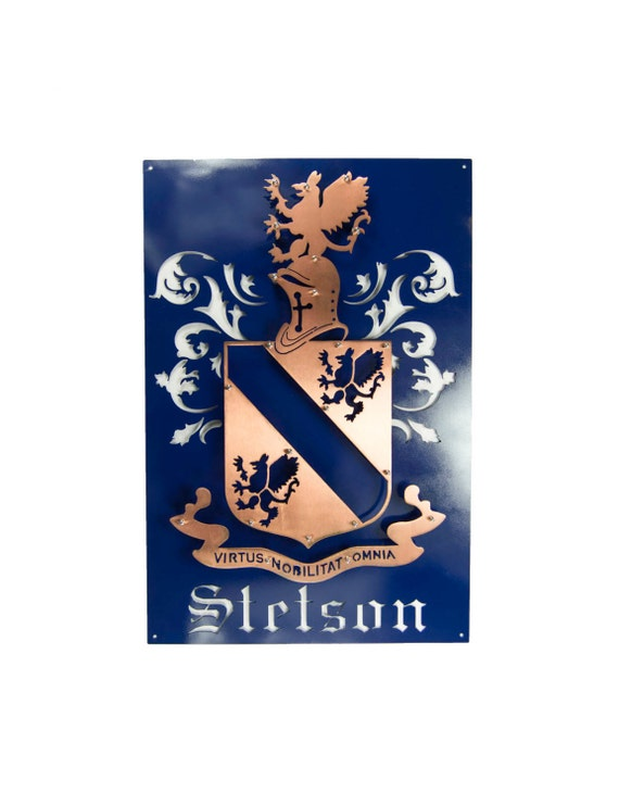 Custom Family Crest, three dimensional cut out of Steel