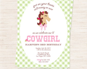 Cowgirl Party Invitation   Pink Cowgirl Invitation Printable   Girl Birthday   Gracie Lee Design