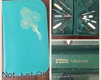 1960s Travel Manicure Set in Leather Case