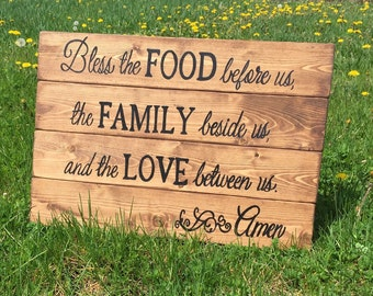 Bless the Food before us, The Family beside us and the Love Between Us Amen Hand Painted Reclaimed Pallet Wood Sign Barn wood wooden signs