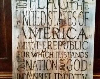 Pledge of Allegiance, reclaimed wood plaque