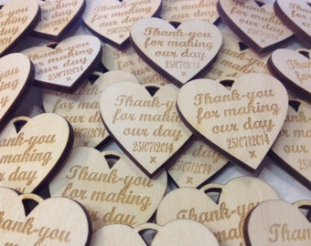 Personalised 6cm XL Wooden Engraved Hearts Wedding Favours rustic natural