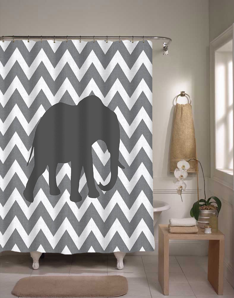 shower curtain cute gray chevron elephant bathroom shower