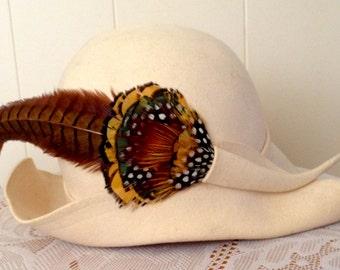 Vintage 1970's ADOLFO Feather Hat