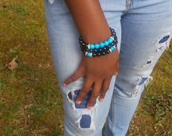 Turquoise/black beaded bracelet set