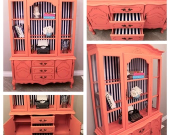 The Emily Cabinet & Hutch in Coral