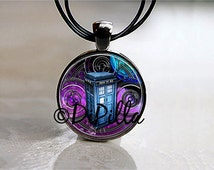 Dr Who Tardis with Time Lord Gallifreyan Symbol in Nebula Pendant with Leather Cord