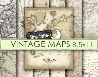 Vintage Maps Digital Paper Pack Letter size 8.5x11 Europe Asia Africa America Old World Antique Commercial Use 00120LT
