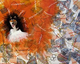 "Mixed Media Collage Art ""Orange Husky"""
