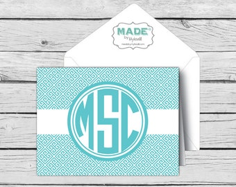 GREEK KEY Circle MONOGRAM Multi-Color Note Card Set, Made-to-Match Cards, Printed Thank You Cards, Stationery, Younique