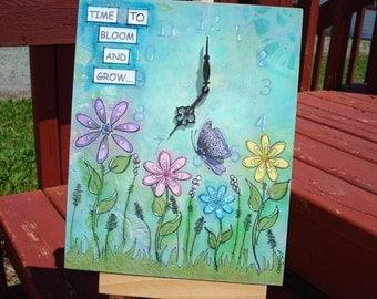 mixed media ooak original art work / flower art