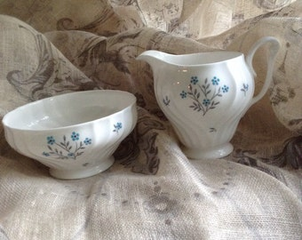 Antique Queen Anne Bone China  Neptune Creamer and Sugar Bowel set with free sugar tongs and box of shaped sugar cubes