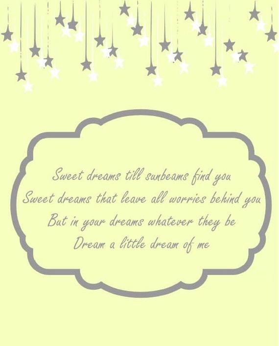 Sweet Dreams Till Sunbeams Find You 8 x 10 Sweet Dreams Till