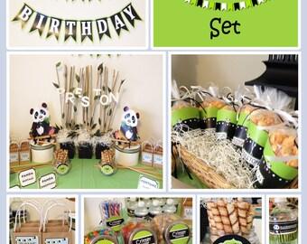 Panda Birthday Party Set, Animal Birthday Party Set - Printable or Printing Available