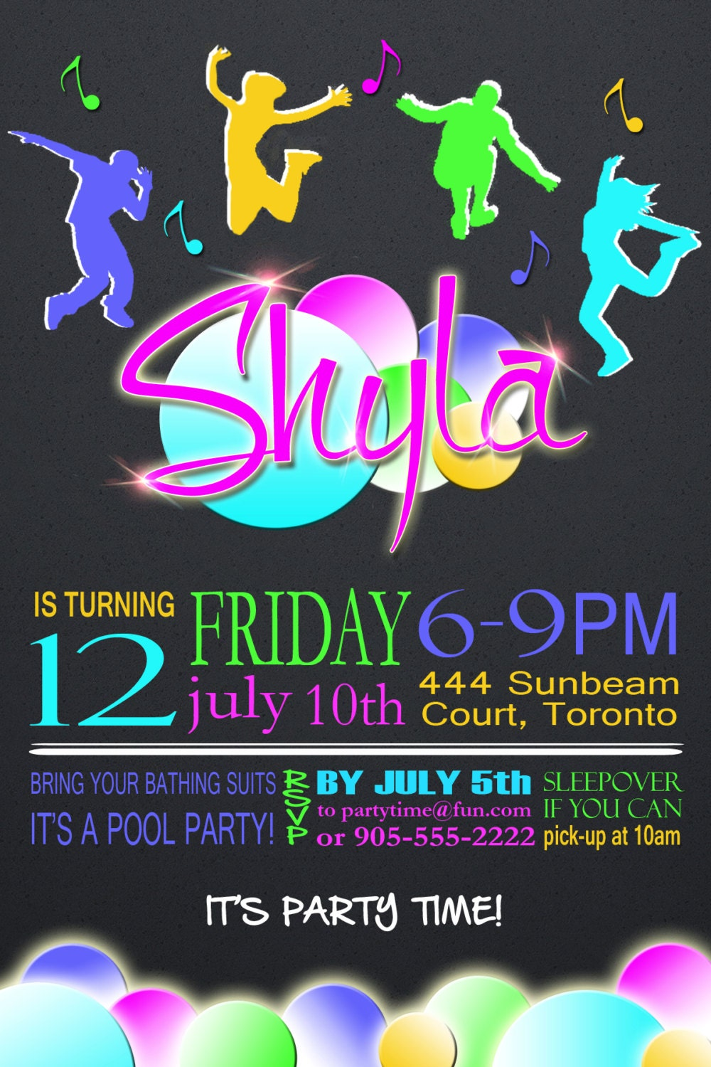Teen Birthday Party Invitation Dance Style Invite Pool Party