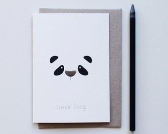 bear hug | panda | greeting card | silver foil | just because | friendship