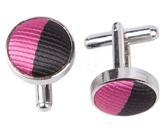 Striped Hot Pink & Black Cufflinks