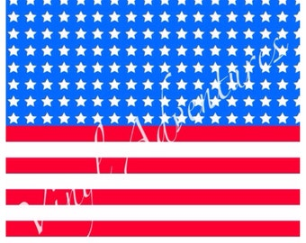 """4th of July, Vinyl, American Flag, Stars and Stripes, Patriotic, Patterned, Red White Blue, 1-12""""x12"""", Permanent Adhesive, USA, Printed"""