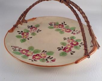 Vintage Floral Serving Plate with Basket Handles