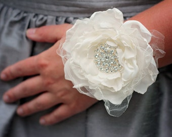Fabric Corsage | Wedding Wrist Corsage | Prom Corsage | Mother of the Bride Corsage | Wrist Corsage | Rustic Wedding Corsage | Shabby Chic