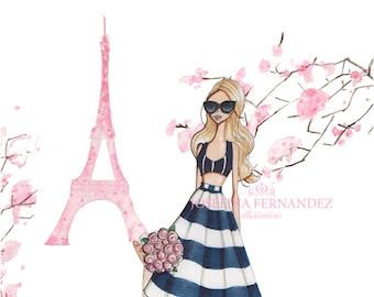 "Fashion illustration print, ""Printemps à Paris"", Fashion sketch, Fashion art, Paris art, Paris print, Paris illustration, Eiffel tower art"