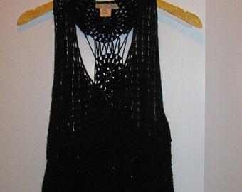 Black Crochet Fringe Top