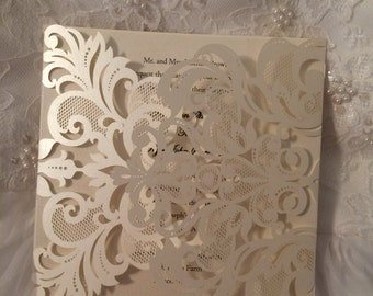 Laser Cut, Wedding, Invitation with Intricate Design