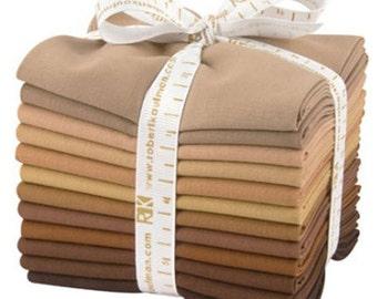 SALE Kaufman Kona Cotton Solids Fat Quarter Bundle Fabric Fat Quarter Sediment Palette FQ-907-12