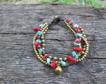 Red Coral African Turquoise Chain Brass Bracelet,African Chain Brass Bracelet,Stone Bead Bracelet