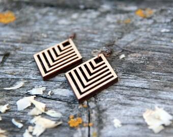 Rhombus (small) Laser Cut Wood Earrings